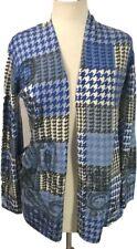 Talbots Women MP Knit Open Cardigan Sweater Top Blue Houndstooth Paisley Marino