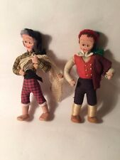 Pair Vintage Portugese poseable Costume Dolls- character hand stitched faces- K7