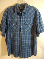 Canyon Guide Outfitters Mens Size XL Blue Plaid Short Sleeve Shirt Snaps D07