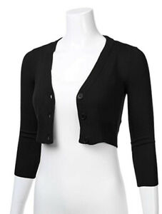 Womens Ladies Long Sleeve Open Front Knitted Cropped Short Cardigan V-neck Top