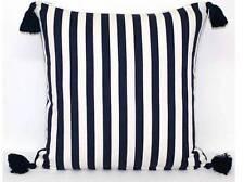 Navy Blue Off White Stripe Tassels Cushion Cover Cotton Nautical Throw 50 x 50