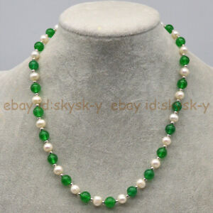 Natural 7-8mm White Akoya Pearl & Green Jade Round Gems Beads Necklace 16-30''