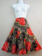 Monsoon Silk blend Skirt 12 Floral Rose Red Grey knee length