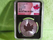 2018 CANADIAN INCUSE MAPLE LEAF EARLY RELEASE MS 70