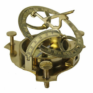 "Brass Sundial Compass 3"" Nautical Maritime Antique Vintage Style Sun Dial Gift"
