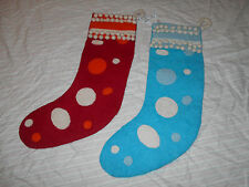 Christmas Stockings Set of 2 Wool By Arcadia Home Design, EUC