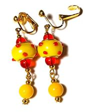 Yellow Red Clip-On Earrings Gold Prom Glass Bead Vintage Style Boho Dangle