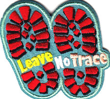 """LEAVE NO TRACE"" Iron On Patch Camping Camper Scouts Boy Girl Cub Camp"