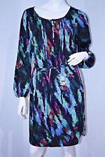 CHARLIE JADE Drawcord Waist PRINT DRESS Long Sleeve LINED S Free Shipping