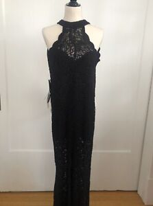 NWT Bebe Black High Neck Lace Halter Jumpsuit, Size 4, $139