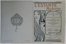 """L'ESTAMPE MODERNE N°18"" Couverture originale entoilée (MUCHA octobre 1898)"