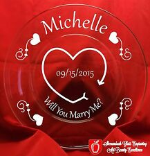 Glass Serving Plate Marriage Proposal Will You Marry Me Personalized