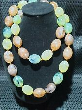 Vintage multicolored marbled effect bead string necklace barrel clasp boho kitch