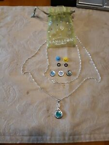Authentic Sterling Silver kameleon jewelry. Necklace, Pendant & 4 Jewel Pop's