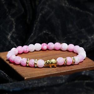 Fashion Men Women Natural Stone Weathered Agate Elephant Beads Couple Bracelets