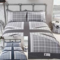 Cool Britannia Check & Stripe Union Jack Flag Duvet Quilt Cover Bedding Set