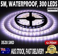 Waterproof Flexible 12V Led Strip Lights 3528 SMD Cool White  300 LEDs 5M Roll