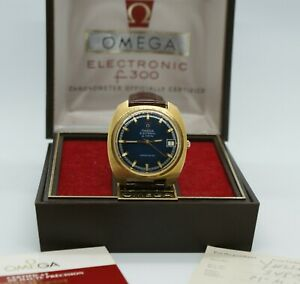 Omega Geneve F300hz 198.030 tuning fork watch, Gold Plated, Box & Papers