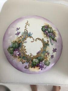 Vintage Large Hand Painted France Porcelain Vanity Trinket Jewelry Box Signed