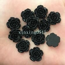 New 20pcs 14mm Resin 3D Black rose Flatback stone scrapbook Wedding buttons DIY