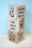 Personalised Newborn Baby Boy Girl Gift Present Christening Keepsake Wood Blocks