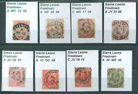 BRITISH SIERRA LEONE 8 Old Stamps Good Cancel VF