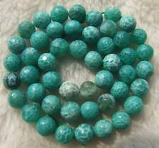 8mm Green Crab Agate Faceted Round Beads 15""