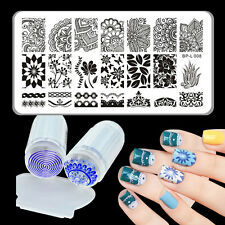 3pcs/set Born Pretty Arabesque Nail Stamping Plate & Silicone Clear Stamper Set