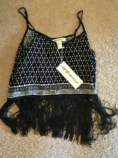 NWT H&M Coachella COLLECTION PRINTED Fringe Tank Top, 8