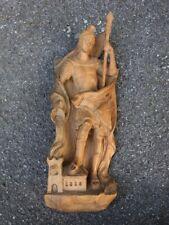 Alte, große Holzfigur, Hl. Florian, Heiligenfigur aus Holz geschnitzt, 52,5cm