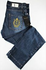 NWT 650$ BILLIONAIRE COUTURE JEANS embroidered blue stretch luxury Italy us 38