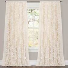 "Lush Decor Belle --ONE Curtain Panel - IVORY OFF WHITE (84"" x 54"") NEW RUFFLES"