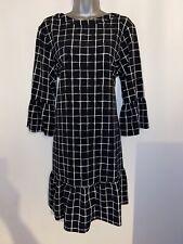 FAB NEXT BLACK & WHITE CHECKED FLOATY SMART AUTUMN DRESS 14