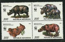 WWF Rhinoceros mnh block of 4 stamps 1996 Indonesia #1673