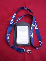POLICE,SO19,CO19 - Blue/White Neck Lanyard+Security ID Pass Card/Badge Holder P
