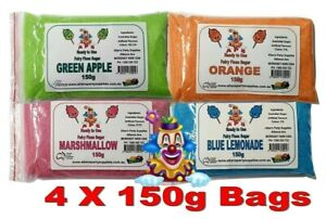 4 x 150g Bags, Fairy Floss Sugar, Ready 2 Use, Assorted Flavours  FREE DELIVERY
