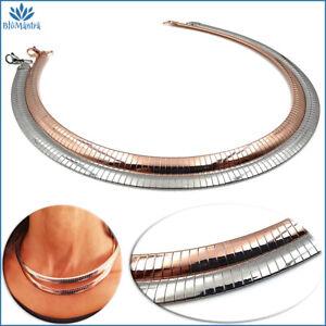 Collana girocollo da donna snake semirigido piatta in acciaio inox argento rosa