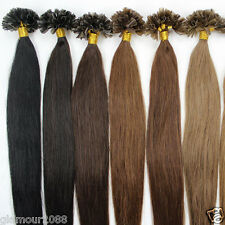 Fusion Pre Bonded Glue Nail Shape Tip Remy Human Hair Extensions Straight 100s