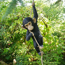 More details for climbing monkey hanging on rope garden tree ornament statue sculpture decoration