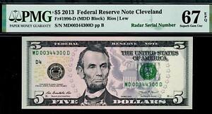 2013 $5 Cleveland *Radar* Federal Reserve Note FRN D00344300D 1996-D PMG 67 EPQ