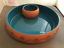 HIMARK Made in Portugal Terra Cotta Chip & Salsa Dip Bowl Aqua Orange Red