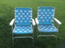 2 Vintage Lawn Chairs Aluminum Folding Webbed Blue & Green