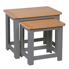 Farrows Grey Painted Nest Of Tables / Oak Living Room Nested / Solid Hardwood