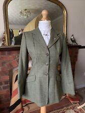 Ladies Caldene Size 36 Green Overcheck Tweed Show/Hacking Jacket Double Vents