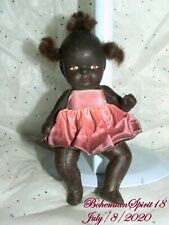 Antique 1930's Signed Japan African American Double Jointed Bisque 6'' Doll