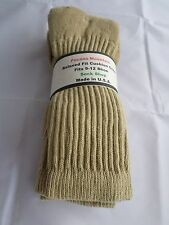 3 Pair of  Pocono Relaxed Fit Cotton Cushion Crew Socks 9-12 Made USA Khaki