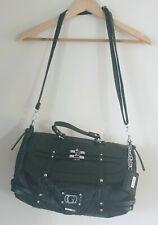 Guess Black  Leather Bag Handbag Crossbody Strap Silver Hardware Bag
