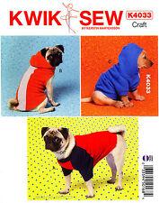 Kwik Sew Sewing Pattern K4033 Dog Clothes XS-XL Coats Hoodie Sweatshirt 4033