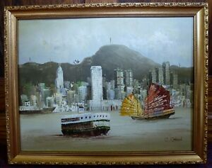 Vintage Impressionist signed Oil painting on board Hong Kong Oriental Art C Chan