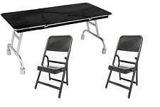 FC-B x 2+UT-B: 1/12 scale foldable chair x 2 & Black Breakaway folding table x 1